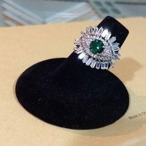 🆕 Emerald & Cubic Zirconia Evil Eye Ring